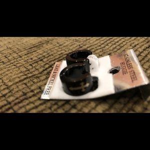 Huggie Black Earrings with cross